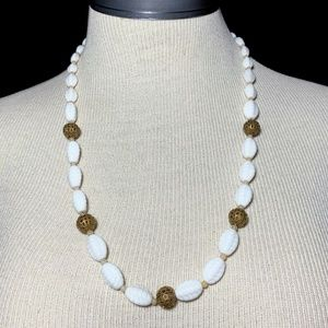 Vintage Jewelry - Vintage White Poured Milk Glass Beaded Necklace